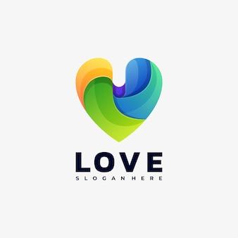 Ilustração de logotipo estilo gradiente colorido de amor.
