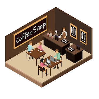 Ilustração de loja de café