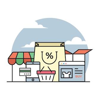 Ilustração de loja de comércio eletrônico