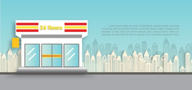 Ilustração de loja de conveniência