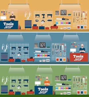 Ilustração de loja de ferramentas com instrumentos