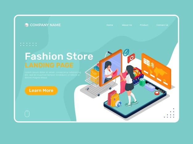 Ilustração de loja de moda com personagem. modelo de ilustração da página de destino.