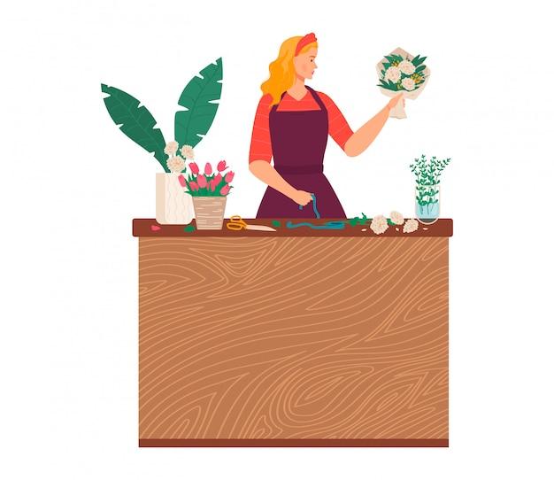 Ilustração de loja de produtos de floricultura, florista de mulher jovem e bonita fazendo buquê decoração de flores e plantas em branco