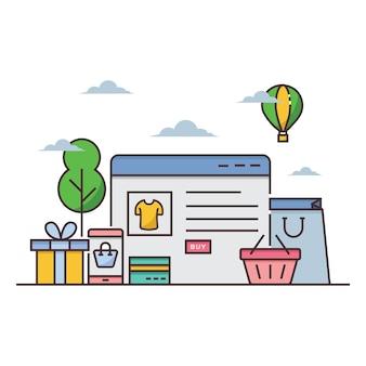 Ilustração de loja on-line