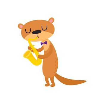 Ilustração de lontra engraçada dos desenhos animados isolada no fundo branco. animal fofo e engraçado, personagem animal tocando saxofone