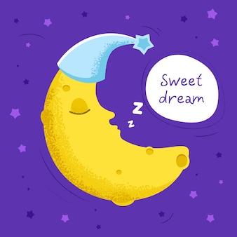 Ilustração de lua fofa