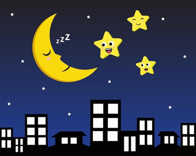 Ilustração de lua sonolenta e estrelas de sorriso