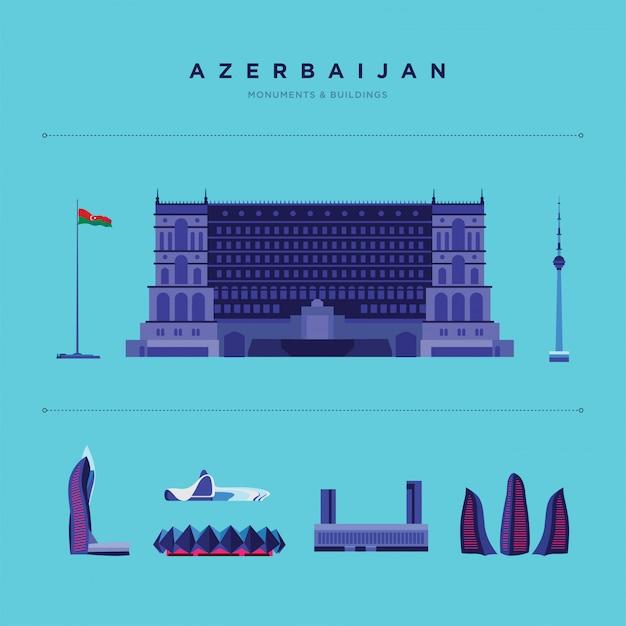 Ilustração de lugares famosos e monumentos no azerbaijão.