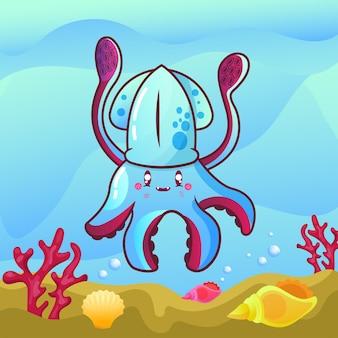 Ilustração de lula fofa no fundo do mar