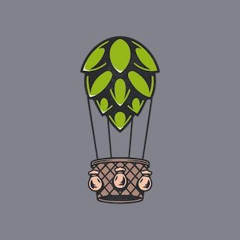 Ilustração de lúpulo de cerveja com balão de ar