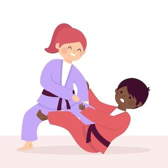 Ilustração de luta de atletas de jiu-jitsu