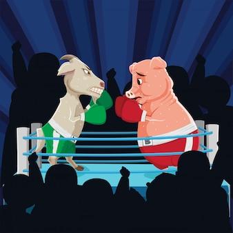 Ilustração de luta de cabra e porco