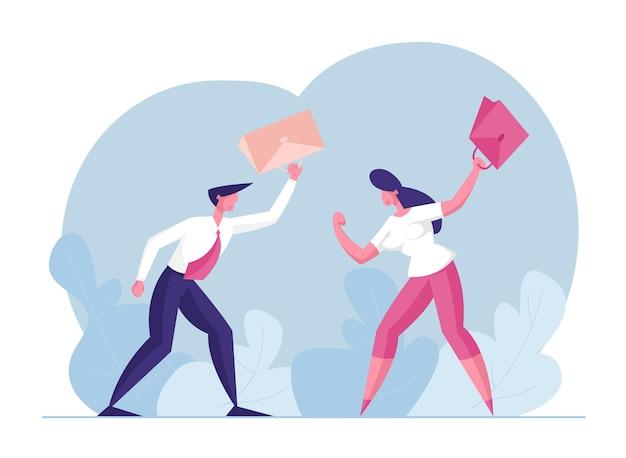 Ilustração de luta de empresários