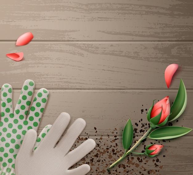 Ilustração de luvas de jardinagem com flores na mesa de madeira
