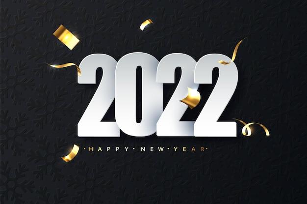 Ilustração de luxo de ano novo de 2022 em fundo escuro. saudações de feliz ano novo.