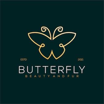 Ilustração de luxo do logotipo da arte da linha borboleta