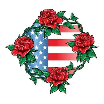 Ilustração de luxo e vintage bandeira americana e rosas vermelhas
