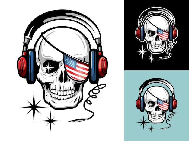 Ilustração de luxo e vintage de caveira com bandeira americana cobrindo um olho e fone de ouvido