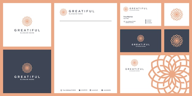 Ilustração de luxo logotipo beleza com modelo de identidade de marca