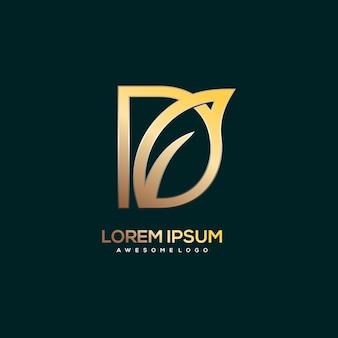 Ilustração de luxo ouro com logotipo da letra d