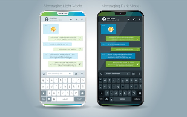 Ilustração de luz de aplicativo móvel de mensagens e escuro vetor de interface do usuário