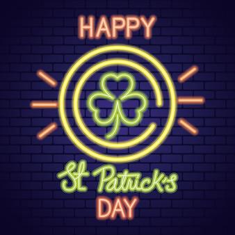 Ilustração de luz de néon do saint patrick day com trevo na moeda