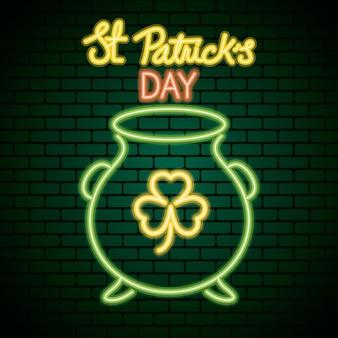 Ilustração de luz de néon do saint patrick day com trevo no caldeirão