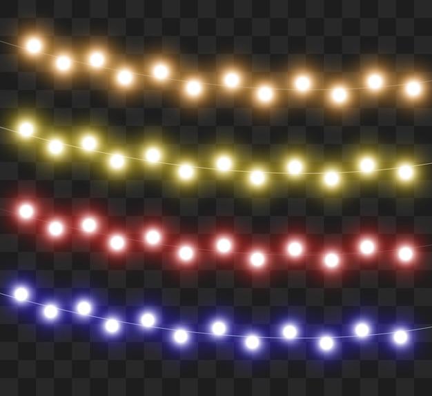 Ilustração de luzes de festa com guirlanda de natal