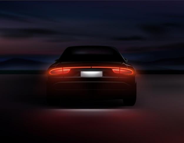 Ilustração de luzes traseiras de carros realistas brilhando no fundo da noite escura