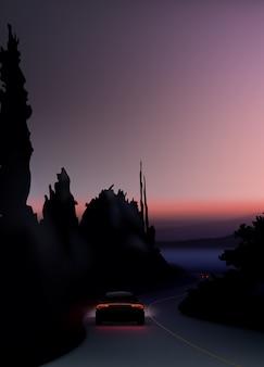 Ilustração de luzes traseiras vermelhas de carro em fundo de noite suburbana