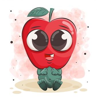 Ilustração de maçã fofa