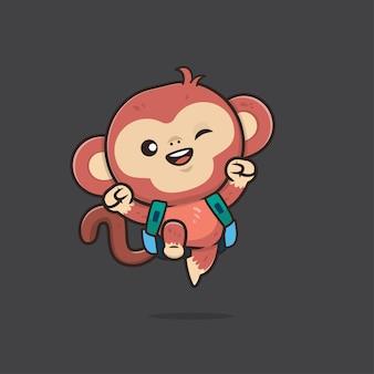 Ilustração de macaco animal fofo de volta à escola