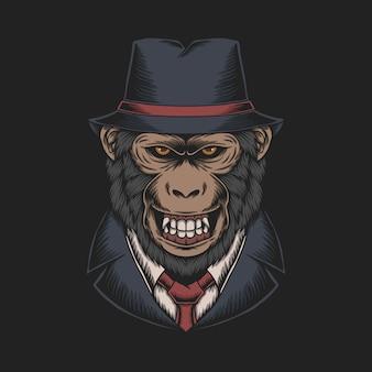 Ilustração de macaco da máfia