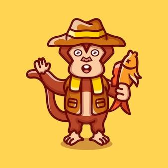Ilustração de macaco fofinho pegando peixes