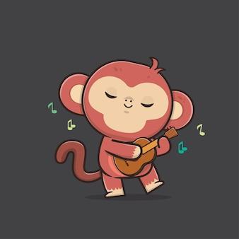 Ilustração de macaco fofo animal selvagem