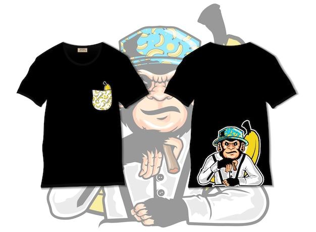 Ilustração de macaco legal com design de camiseta, desenhado à mão