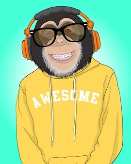Ilustração de macaco legal desenhada de mão