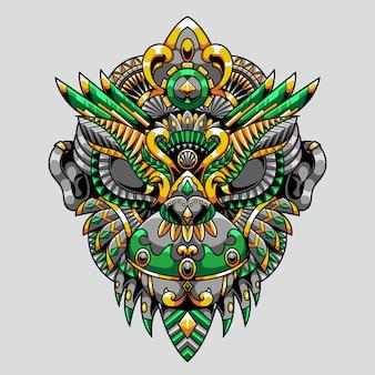 Ilustração de macaco mandala zentangle e design de camisetas premium