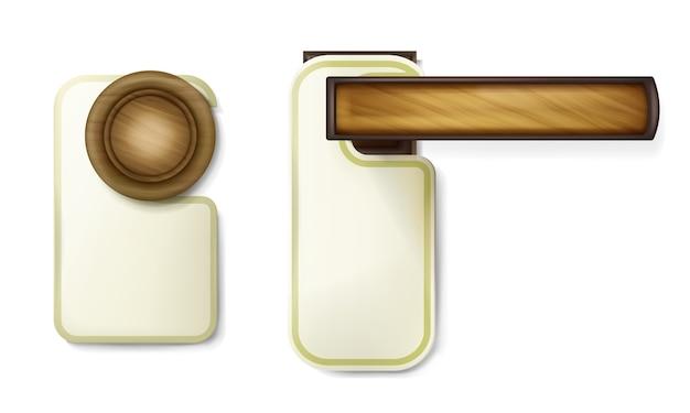 Ilustração de maçaneta da porta de madeira girando a alça redonda com aviso de papel vazio de suspensão