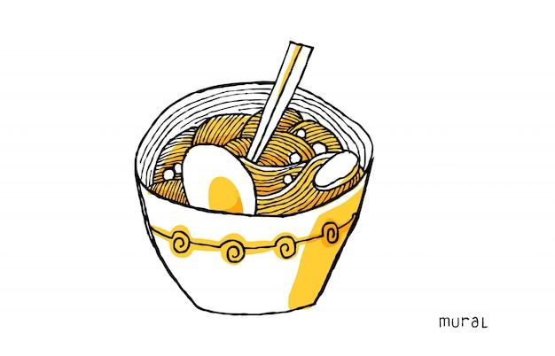 Ilustração de macarrão ramen