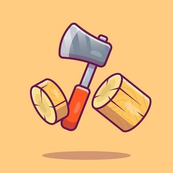 Ilustração de machado e madeiras. axe cutting wood.