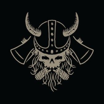 Ilustração de machados de guerreiro viking crânio