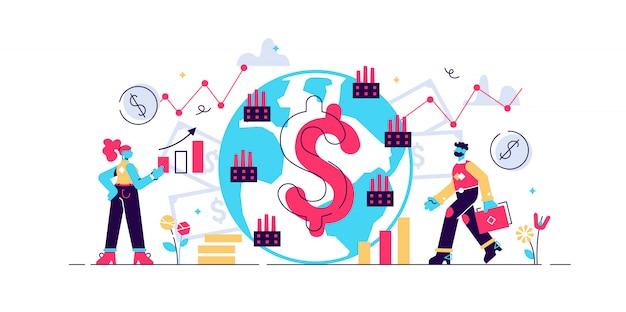 Ilustração de macroeconomia. conceito de pessoas de finanças plana minúscula gráfico. gráfico de orçamento global do pib em dinheiro. taxa de renda positiva positiva do capital social. estudo monetário global e conhecimento básico da economia.