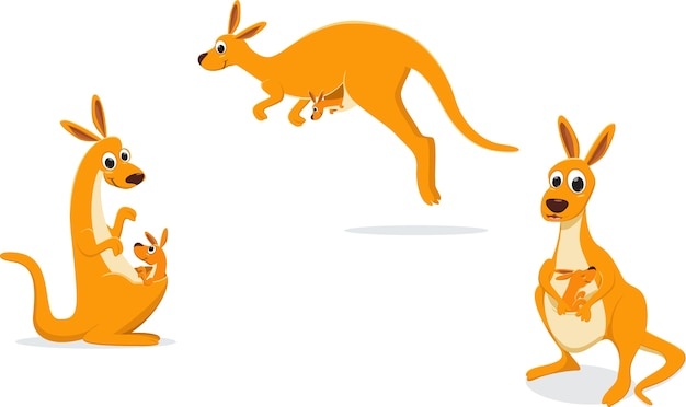 Ilustração de mãe canguru com seu bebê