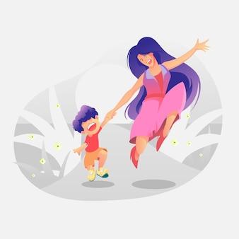 Ilustração de mãe com seu filho