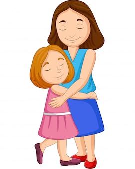 Ilustração, de, mãe filha, abraçando