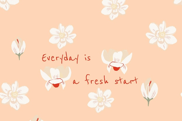 Ilustração de magnólia do modelo de banner floral lindo com citações inspiradoras