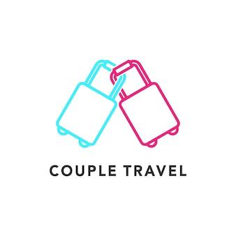 Ilustração de mala de viagem de casal para símbolo de lua de mel design de logotipo gráfico de vetor
