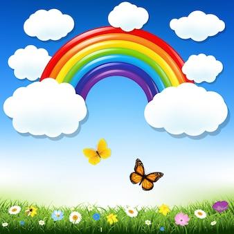Ilustração de malha gradiente de arco-íris e grama