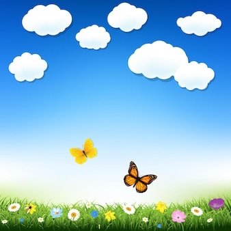 Ilustração de malha gradiente de borboleta e grama